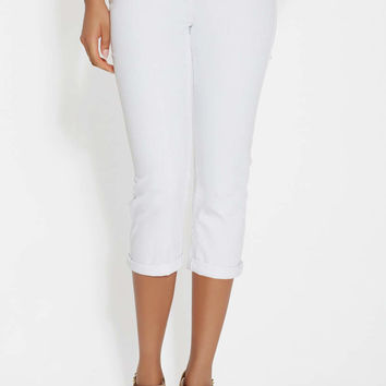 Ellie capri in white with back flap pockets | maurices