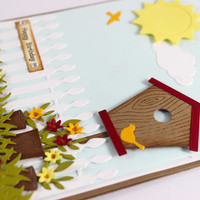 Birthday Card, Birdhouse Scene, Summer