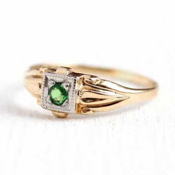 Tsavorite Garnet Ring - 10k Yellow & White Gold Genuine .05 ct Green Gemstone Jewelry - Size 3 1/4 Art Deco 1940s Fine Childrens Jewelry