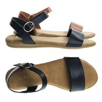 Tamber02 Black by Bamboo, Two Piece Flat Sandal w Comfortable Foam Padded Insole. Women Open Toe