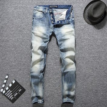 Italian Designer Fashion Men Jeans Slim Fit Light Blue Color Button Jeans Elastic Long Pants Classical Jeans Men