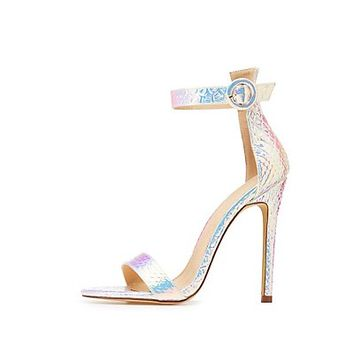 Holographic Faux Snakeskin Two Piece Sandals