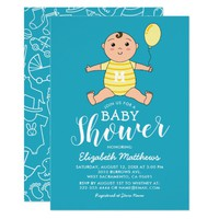 Boy Blue Yellow Cute Baby Shower Card