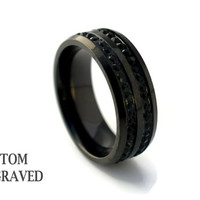 Unisex Engraved Stainless Steel Black Crystal Ring - Personalized Steel Ring -Stainless Steel Men Women Custom Ring - Custom Engraved Ring