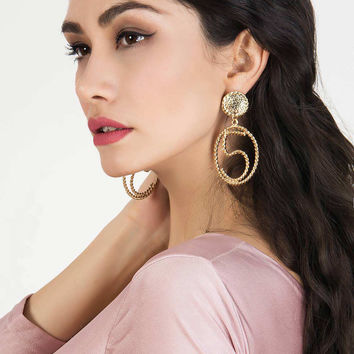 Golden Twisted No.5 Embellished Open Circle Earrings
