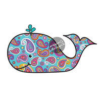 Paisley Whale Car Decal - Colorful Beach Bumper Sticker Laptop Decal Cute Animal Nautical Ocean Pink Blue Teal Orange White