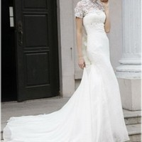A-line Sleeved Floor Length White Evening Dresses With Train(Cf0007)