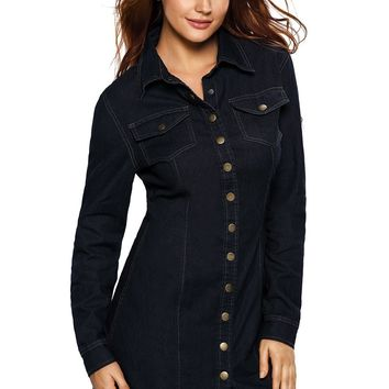 Chicloth Dark Wash Long Sleeve Button Front Denim Dress