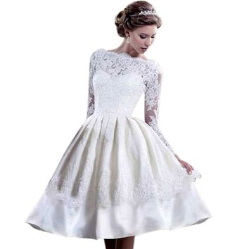 ROPALIA White Wedding Short Prom Dress Mini Evening Party Formal Lace Dresses