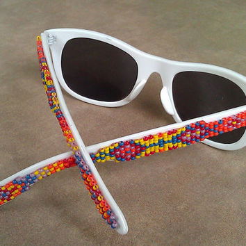 Native American Hand Beaded Pow Wow Sunglasses in Yellow, Red, Purple, Blue, & Red with Geometric Patterns, Stripes, and Patterns