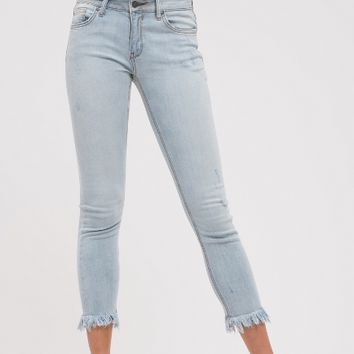 Light Wash Frayed Hem Cropped Denim