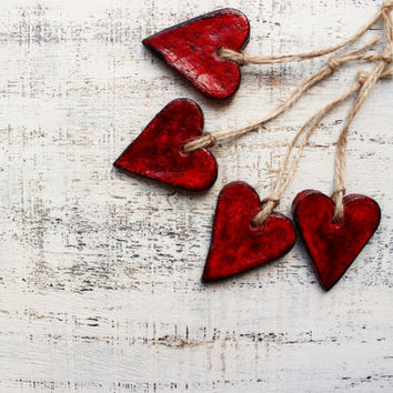Set of heart Christmas ornaments Christmas decoration gift rustic cottage chic shabby chic red brown