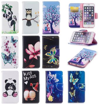 Wallet Phone Cases for iPhone 6s Leather Cover Cute Case for iPhone 6 Plus Panda Owl Butterfly for Coque iPhone 6 s Fundas Shell