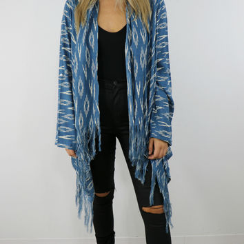 Chasing The Blues Abstract Print Comfy Cardigan