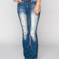 Ymi Wanna Betta Butt Womens Destructed Bootcut Jeans Medium Blast  In Sizes