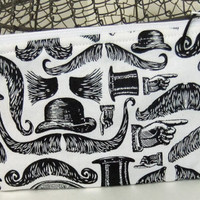 Zip Pouch-Pencil pouch- Cosmetics pouch- made by me using steam punk fabric - mustache
