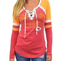 Kansas City Chiefs Womens Laceup Long Sleeve Top | SportyThreads.com