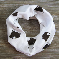 Horse Scarf Childs Scarf Cute Toddler Scarf Winter White Scarf Brown Horses Holiday Gift Idea Girl Scarf Boy Scarf Kids Scarf Ready To Ship