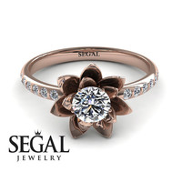 Unique Engagement Ring Diamond ring 14K Red Gold Flower - Lotus