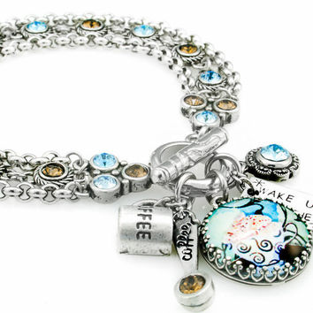 Wake up and Smell the Coffee Charm Bracelet