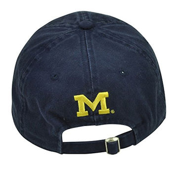 NCAA Michigan Wolverines Distressed Slouch Relaxed Hat Cap Sun Buckle Sport Navy