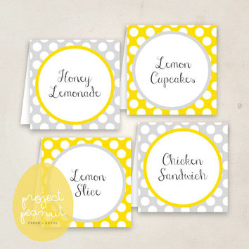 Printable Place Cards: Yellow & Grey [Instant Download]