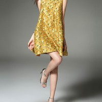 Yellow Cheongsam Printed Silk Trapeze Dress | VIPme