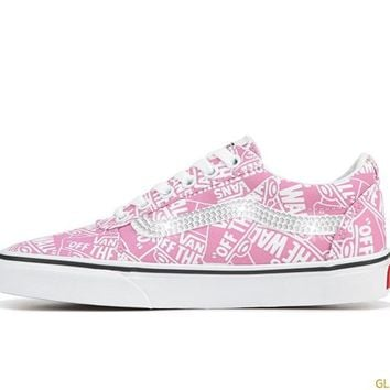 Women's Vans Ward Low Top Sneakers + Crystals - Pink/White