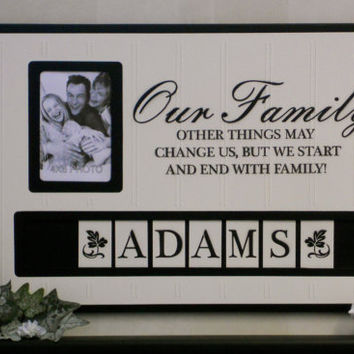 Personalized Family Name Photo Frame Custom Anniversary, Housewarming Gift, Our Family Wooden Picture Home Decor / Wall Decor - Black