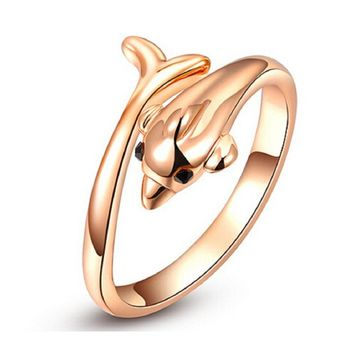 Fashion Trendy Austrian crystal Gold Plated Wedding Ring(7)