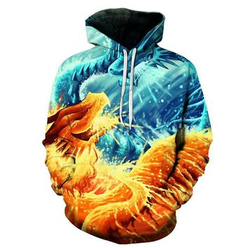 Ice Dragon Vs. Fire Dragon Fight All Over Print Hoodie Sweater