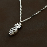 antique silver pineapple Necklace, fruit Jewelry, cute, fun, pendant necklace