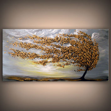 art painting abstract painting metallic gold texture 24 x 48 x 1.5 inch Mattsart