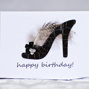 High Heel Black Shoe Birthday Card for Wife, Girlfriend, For Any Woman
