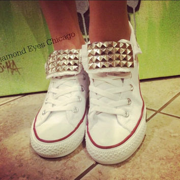 Custom Studded White Converse All Star High Tops - Chuck Taylors 7d1e2c8411be