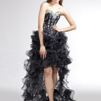A-line Sweetheart Organza Asymmetrical Black Rhinestone Evening Dress at dressestore.co.uk