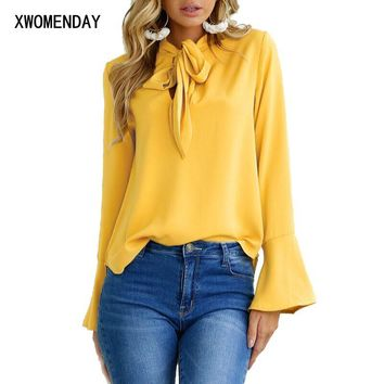 Women Long Flare Sleeve Blouse Temperament Frenulum Ladies Chiffon Blouses Irregular Solid Colours Ladies Tops Clothing Shirts