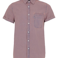 LILAC TINT SHORT SLEEVE DENIM SHIRT - Men's Shirts  - Clothing