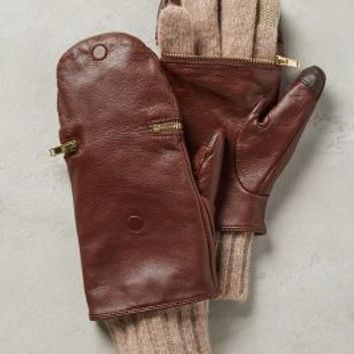 Pop-Top Leather Gloves by Anthropologie in Brown Size: One Size Gloves