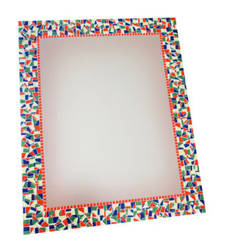 Large Mosaic Wall Mirror, Red Green Blue Yellow