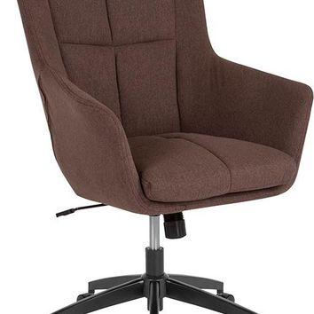 Barcelona Home and Office Upholstered High Back Chair in Brown Fabric [CH-177240-1-BR-F-GG]