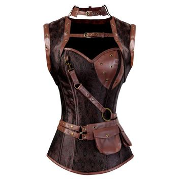 Gothic Steampunk Corset Sexy Burlesque Lace up Boned Clothing Brown Leather with Jacket Clubwear Plus Size