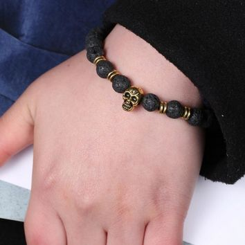 Fashion Bracelets Natural Black Volcanic Rock Punk Style Golden And Silver Skull Bracelets