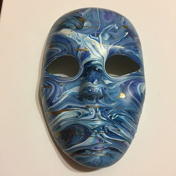 Blue Mask Canvas Abstract Art Painting
