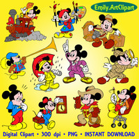 Digital Clipart 20 Image Mickey Mouse Party Clip Art Scrapbooking Invitations Disney Cartoon Graphic INSTANT DOWNLOAD printable 300 dpi png