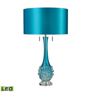 Vignola Free Blown Glass LED Table Lamp in Blue