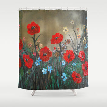 Impasto Poppy Love - Talins Poppy Love Shower Curtain by RokinRonda