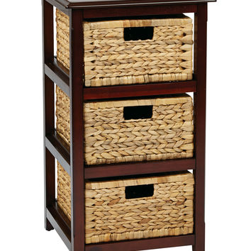 Office Star Seabrook Three-Tier Storage Unit With Espresso Finish and Natural Baskets [SBK4513A-ES]