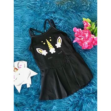 New Back To School Black Unicorn Tutu Dance & Gymnastics Leotard.
