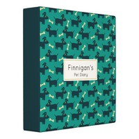 Cute Dog Pattern with Bone on Green Background Binder